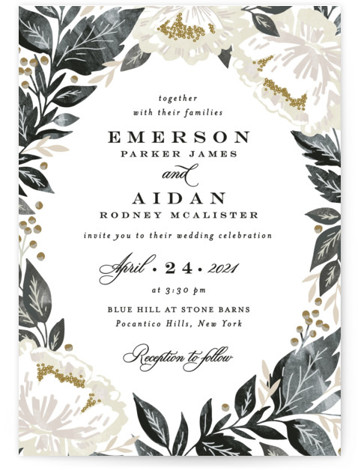 This is a portrait botanical, painterly, beige, black, colorful Wedding Invitations by Alethea and Ruth called Peony Floral Frame with Standard printing on Signature in Classic Flat Card format. This wedding invite features peony blooms, leaves and berries.
