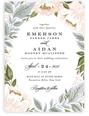 This is a blue wedding invitation by Alethea and Ruth called Peony Floral Frame with standard printing on signature in standard.