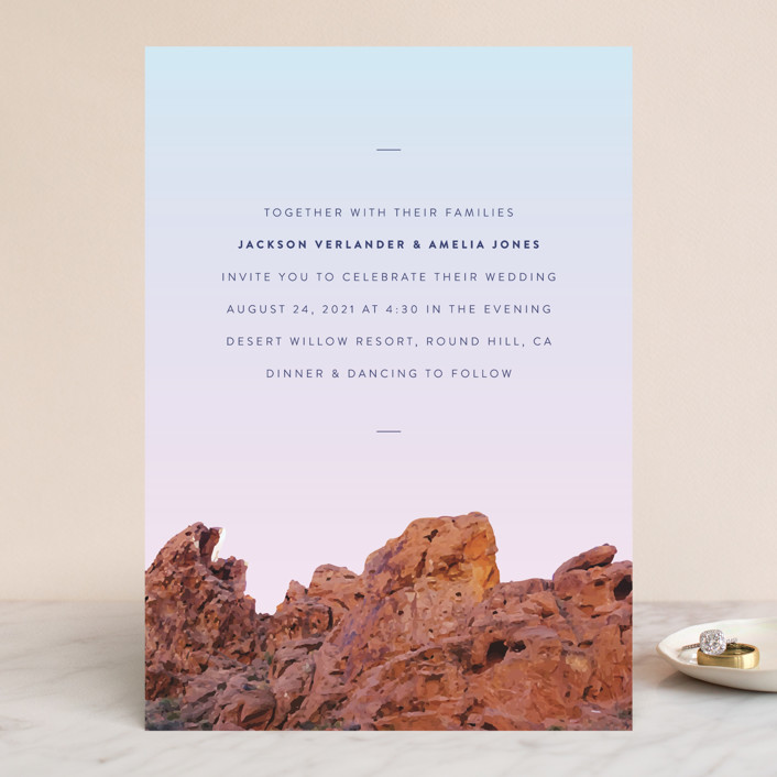 """""""Desert Rocks"""" - Destination, Modern Wedding Invitations in Sunset by Owl and Toad."""