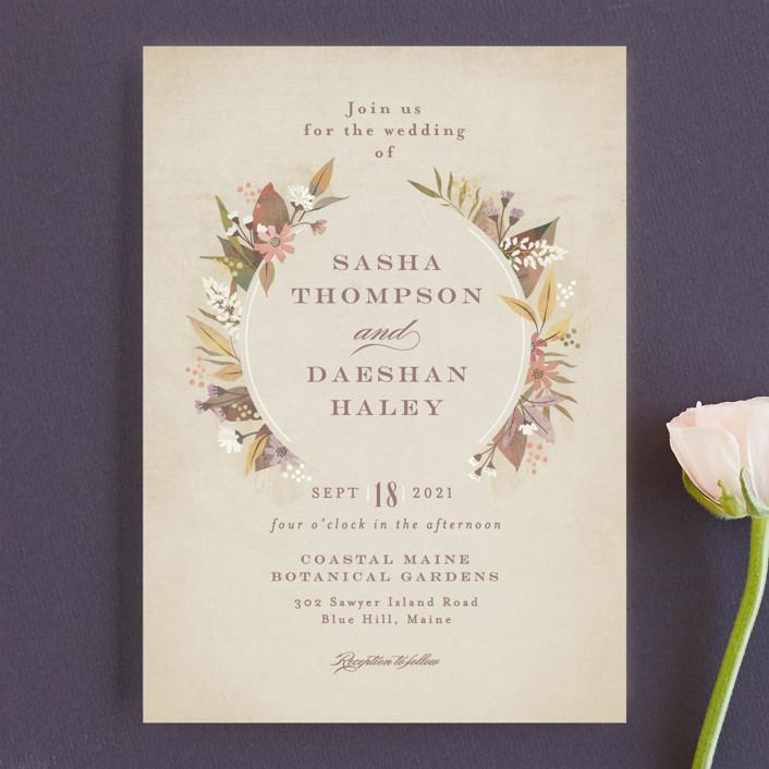 """turning leaves"" - Wedding Invitations in Champagne by Jennifer Wick."