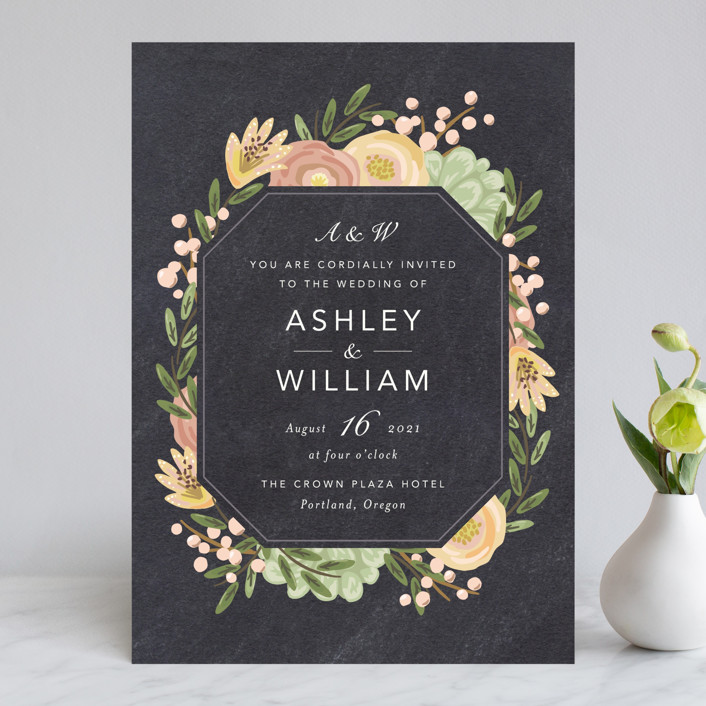 """Botanica"" - Wedding Invitations in Midnight by Griffinbell Paper Co.."