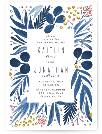 This is a blue wedding invitation by Joanna Griffin called Paradise with standard printing on signature in standard.