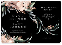 This is a black wedding invitation by Petra Kern called Maya Rustica with standard printing on signature in standard.