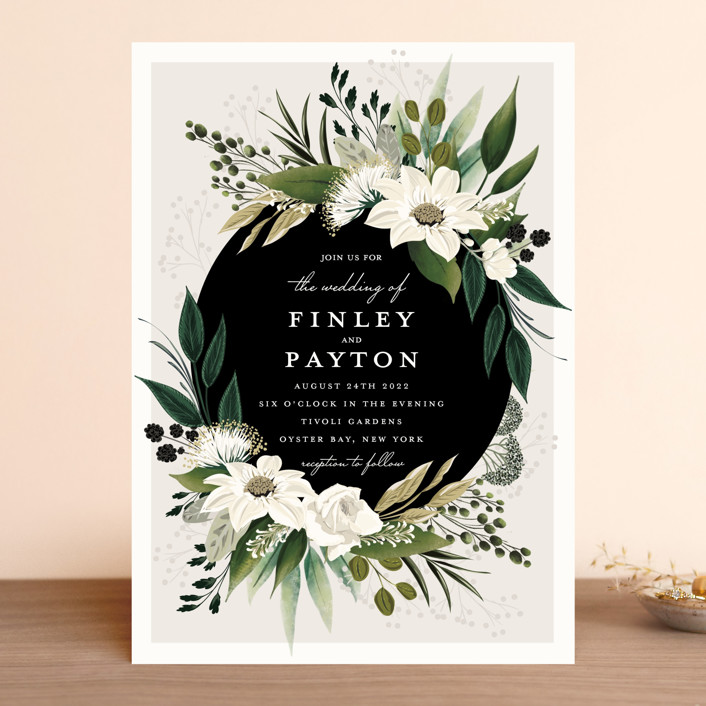 """Botanical Ring"" - Wedding Invitations in Ivory by Susan Moyal."