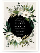 This is a white wedding invitation by Susan Moyal called Botanical Ring with standard printing on signature in standard.