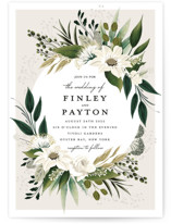 This is a green wedding invitation by Susan Moyal called Botanical Ring with standard printing on signature in standard.