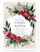 This is a red wedding invitation by Susan Moyal called Botanical Ring with standard printing on signature in standard.