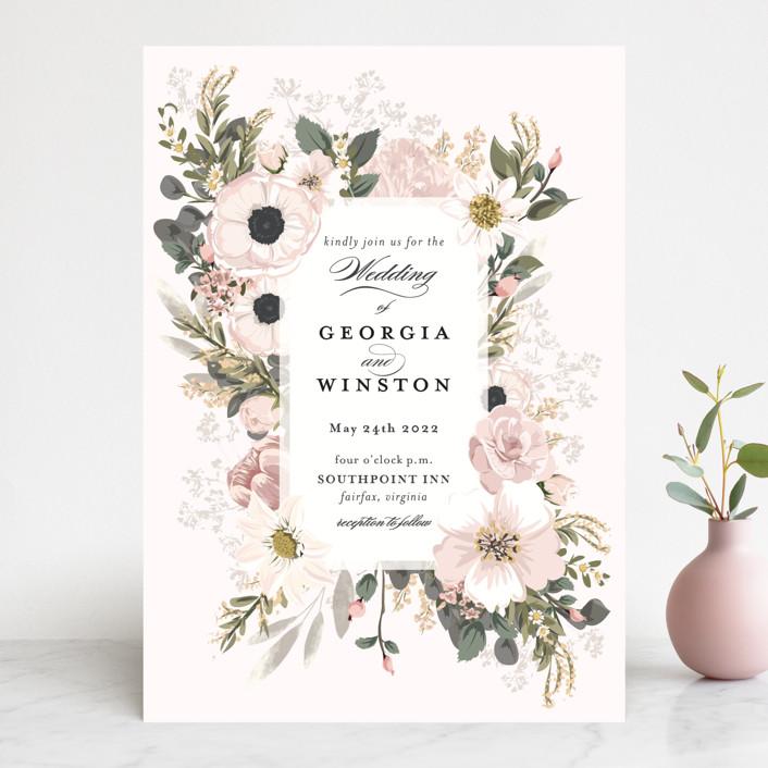 """Spring Botanicals"" - Wedding Invitations in Papaya by Susan Moyal."