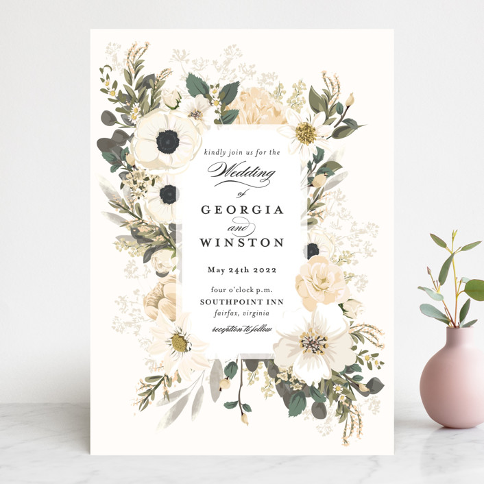 """Spring Botanicals"" - Wedding Invitations in Blush by Susan Moyal."
