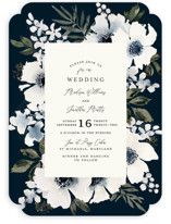 This is a blue wedding invitation by Chris Griffith called Nantucket Romance with standard printing on signature in standard.