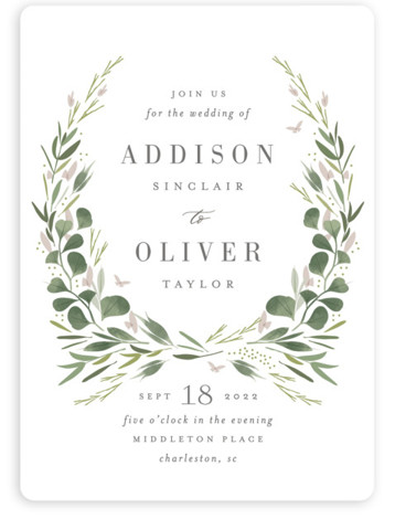 This is a white wedding invitation by Kristie Kern called Garden Path with standard printing on signature in standard.