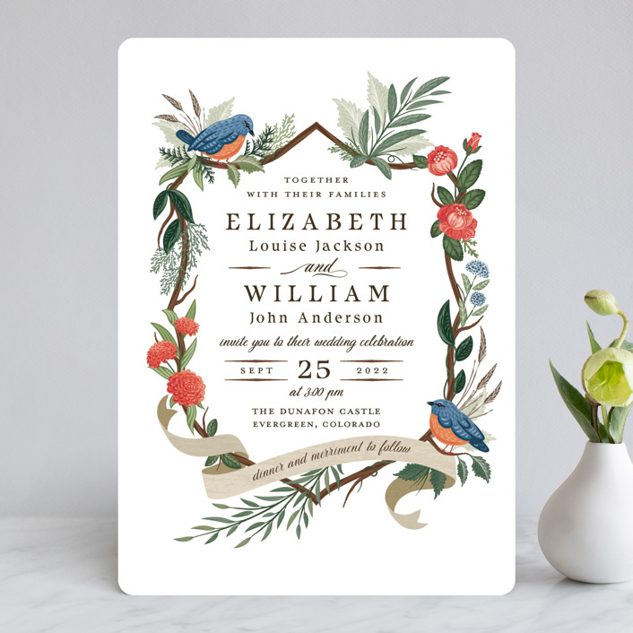 """""""Nature's Crest"""" - Wedding Invitations in Forest by Paper Sun Studio."""