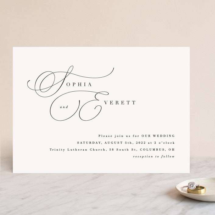 """""""Flowing Initials"""" - Wedding Invitations in Ivory by Hooray Creative."""