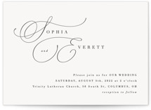 This is a white wedding invitation by Hooray Creative called Flowing Initials with standard printing on signature in standard.
