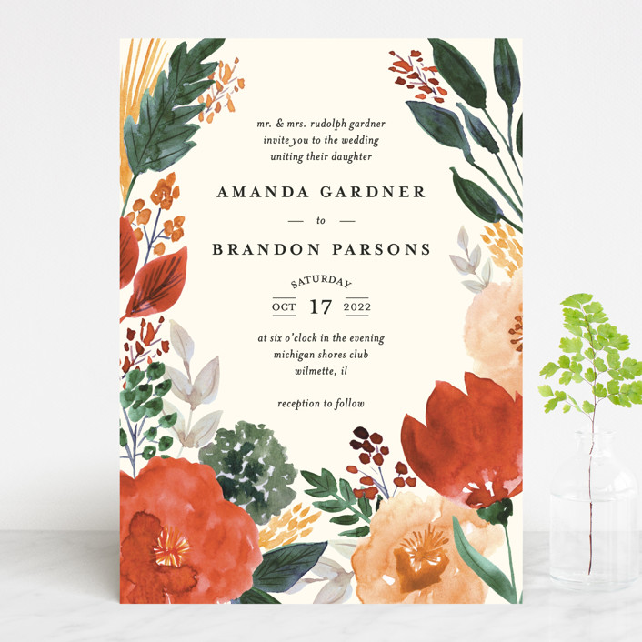 """Flourishing"" - Wedding Invitations in Bloom by Beth Schneider."