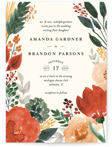 This is a green wedding invitation by Beth Schneider called Flourishing with standard printing on signature in standard.