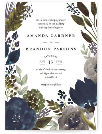 This is a portrait botanical, blue, green Wedding Invitations by Beth Schneider called Flourishing with Standard printing on Signature in Classic Flat Card format. Hand painted watercolor florals create the border on this botanical wedding invitation