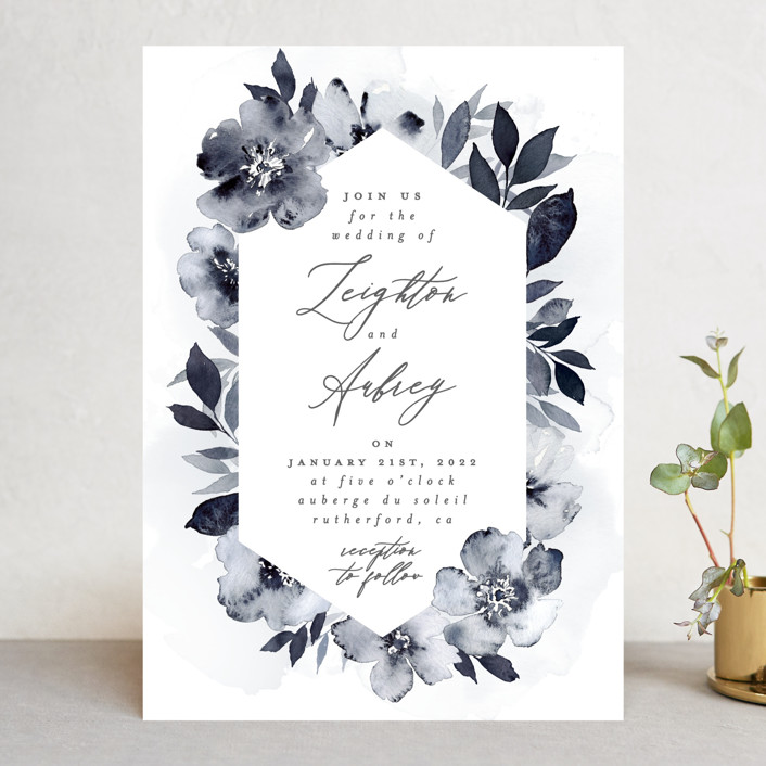 """Fancifully"" - Wedding Invitations in Navy by Everett Paper Goods."