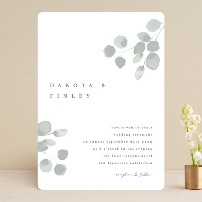 """""""Silver Dollar Eucalyptus"""" - Wedding Invitations in Silver Dollar by Four Wet Feet Studio."""