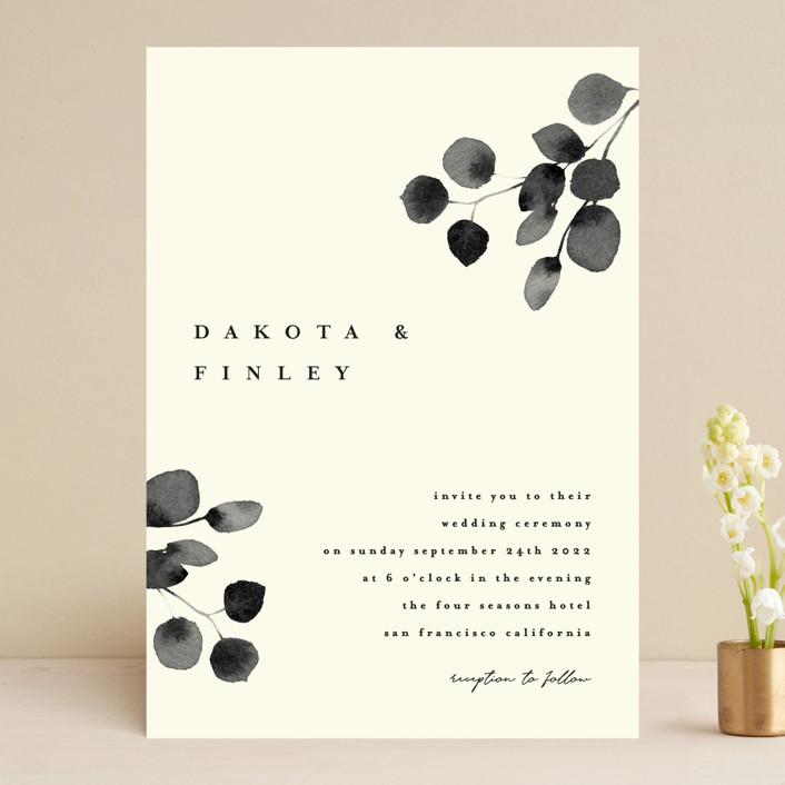 """Silver Dollar Eucalyptus"" - Wedding Invitations in Ivory by Four Wet Feet Studio."