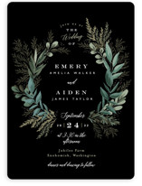 This is a black wedding invitation by Alethea and Ruth called Forest Crest with standard printing on signature in standard.