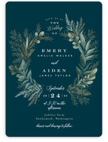 This is a blue wedding invitation by Alethea and Ruth called Forest Crest with standard printing on signature in standard.