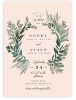 This is a pink wedding invitation by Alethea and Ruth called Forest Crest with standard printing on signature in standard.