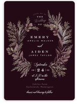 This is a red wedding invitation by Alethea and Ruth called Forest Crest with standard printing on signature in standard.