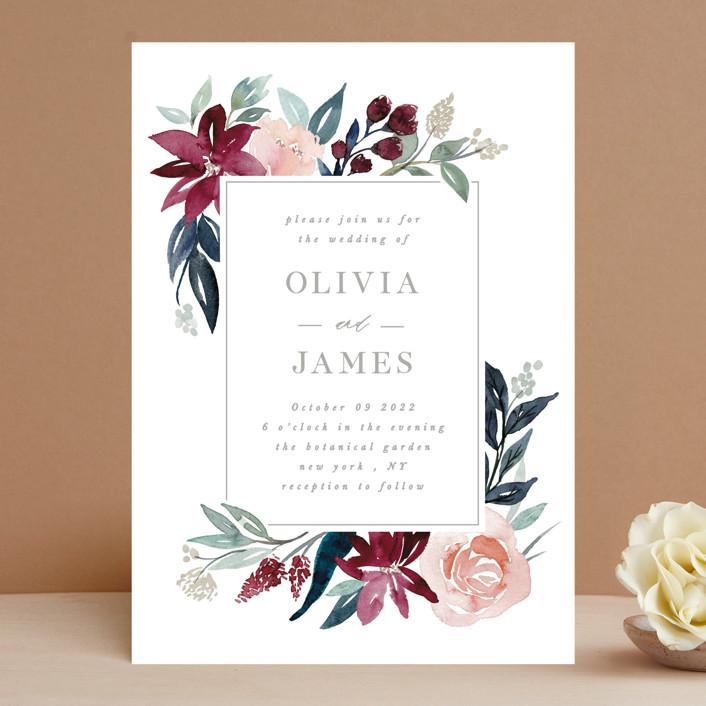 """Garden Stroll"" - Wedding Invitations in Burgundy by Creo Study."