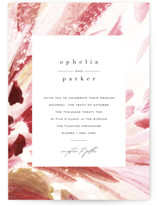 This is a pink wedding invitation by Robin Ott called pollen with standard printing on signature in standard.