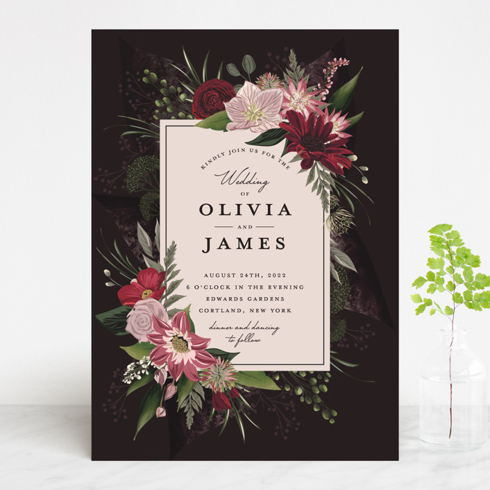 """Midnight Botanicals"" - Wedding Invitations in Cranberry by Susan Moyal."