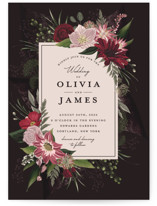 This is a red wedding invitation by Susan Moyal called Midnight Botanicals with standard printing on signature in standard.