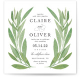This is a green wedding invitation by Olivia Raufman called Garden Square with standard printing on signature in standard.