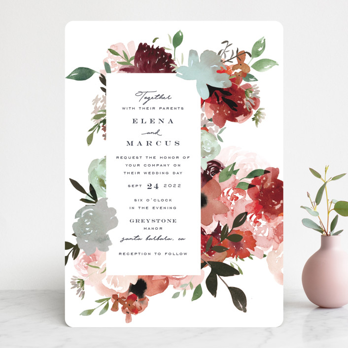 """""""Cascading Florals"""" - Wedding Invitations in Rouge by Leah Bisch."""