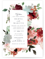 This is a green wedding invitation by Leah Bisch called Cascading Florals with standard printing on signature in standard.