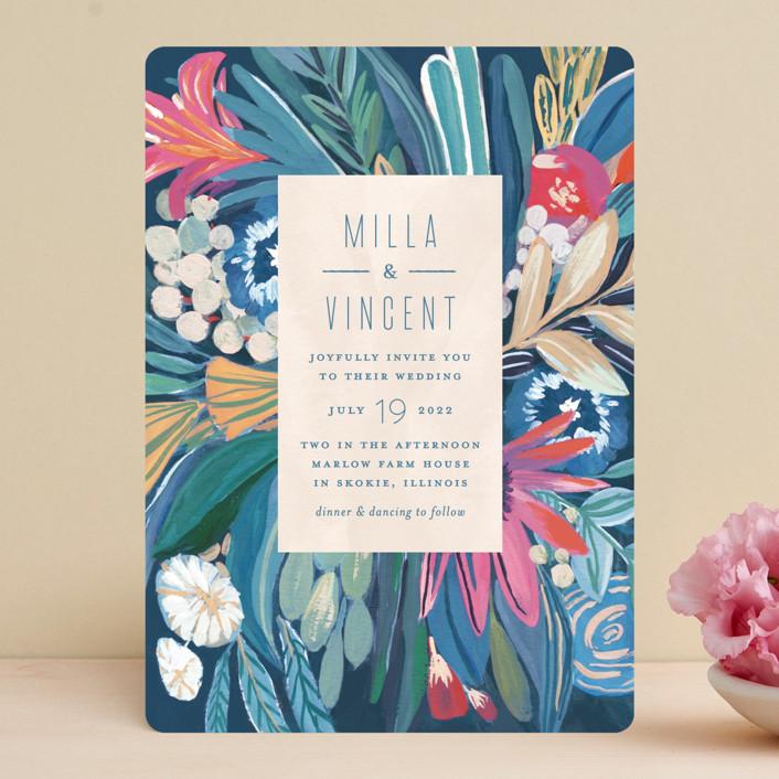 """Floral Burst"" - Wedding Invitations in Ocean by Morgan Ramberg."