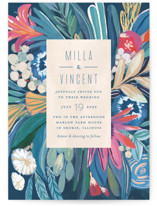 This is a blue wedding invitation by Morgan Ramberg called Floral Burst with standard printing on signature in standard.