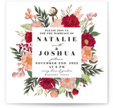 This is a green wedding invitation by Dane Great Designs called Floral Square with standard printing on signature in standard.