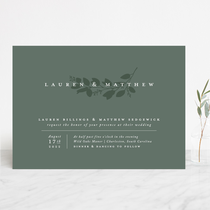 """Falling Branch"" - Wedding Invitations in Eucalyptus by Amy Kross."
