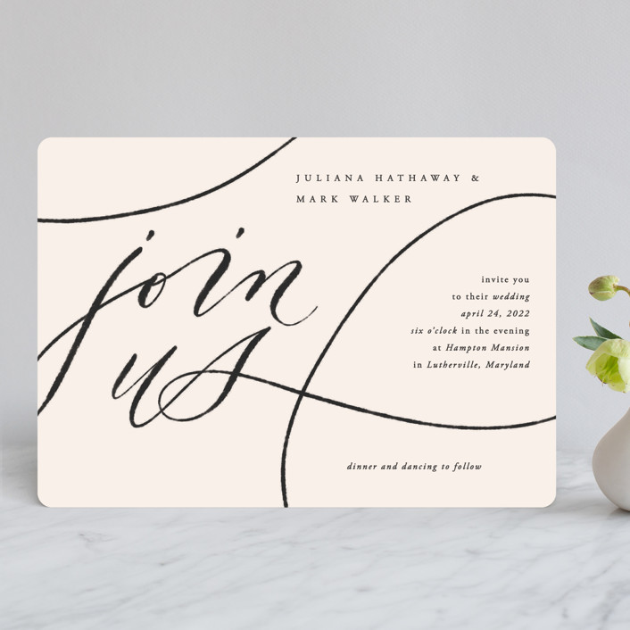 """Fountain Pen"" - Wedding Invitations in Creme by Erin L. Wilson."