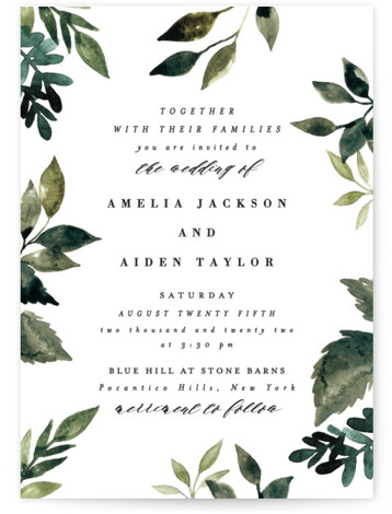 This is a green wedding invitation by Alethea and Ruth called Clearing with standard printing on signature in standard.