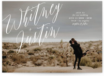 This is a white wedding invitation by Roxy Cervantes called Signed with standard printing on signature in standard.