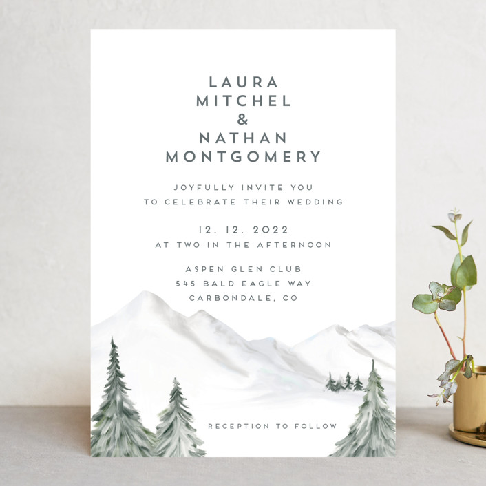 """Lovely Winter Land"" - Rustic Wedding Invitations in Powdered Snow by Petra Kern."