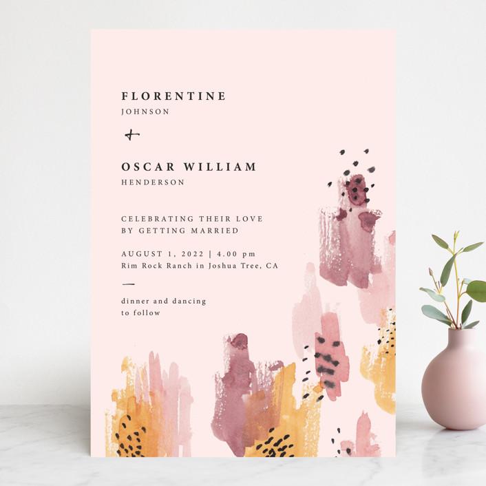 """""""Mod Brush"""" - Modern Wedding Invitations in Blush by Lisa Fee Paura."""