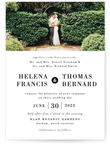 This is a black and white wedding invitation by 2birdstone called Helena with standard printing on signature in standard.