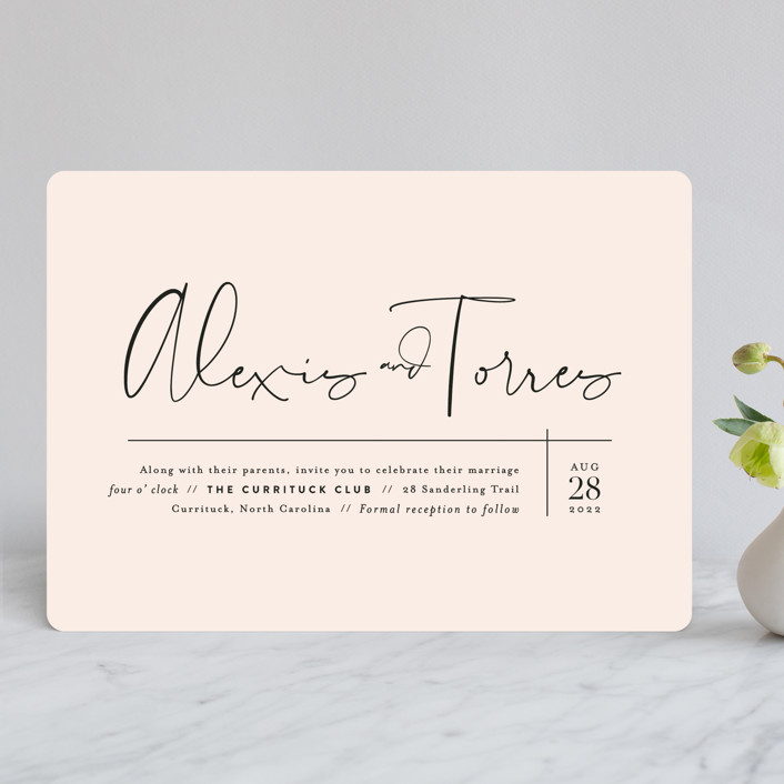 """Just the Two of Us"" - Wedding Invitations in Blush by Jennifer Wick."