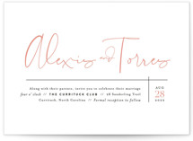 This is a black wedding invitation by Jennifer Wick called Just the Two of Us with standard printing on signature in standard.