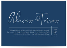 This is a blue wedding invitation by Jennifer Wick called Just the Two of Us with standard printing on signature in standard.