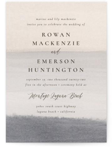 This is a blue wedding invitation by Wildfield Paper Co. called Sunrise Waves with standard printing on signature in standard.