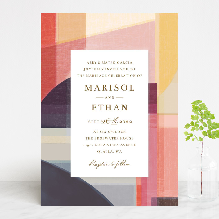 """Edgewater"" - Modern Wedding Invitations in Sunset by Griffinbell Paper Co.."